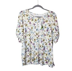 Signature by Reitmans Floral Puff Knot Sleeves NWT